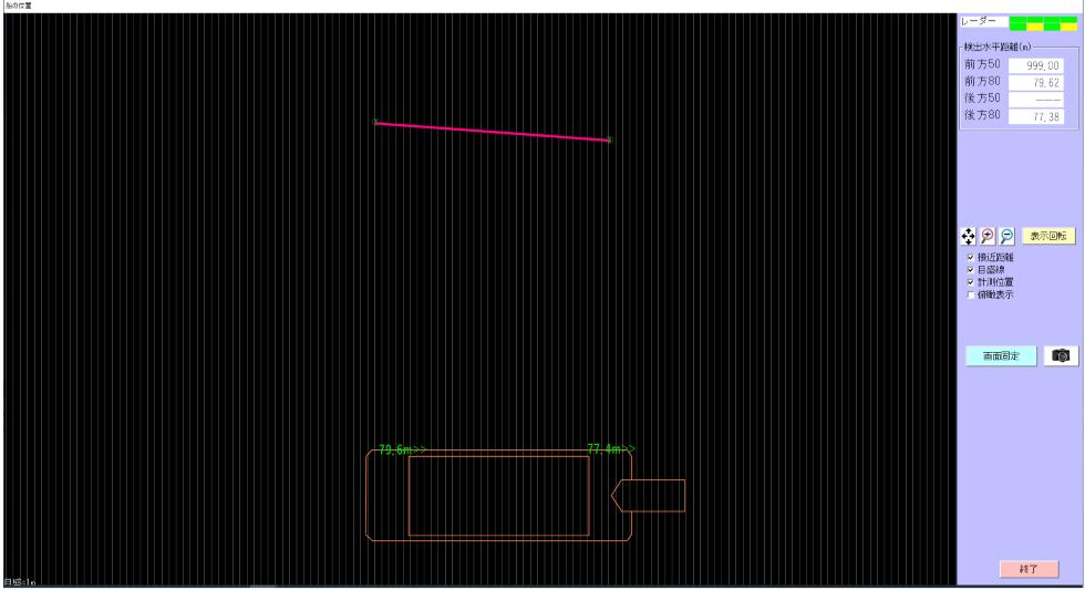 ミリ波レーダー 作業船離着桟管理システム 画面イメージ