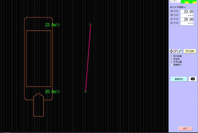 ミリ波レーダー 接舷支援システム画面